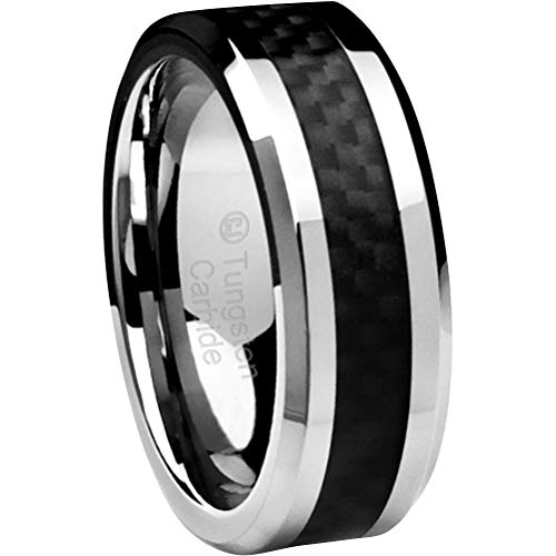 Cavalier Jewelers 8MM Men's Tungsten Carbide Ring Wedding Band with Black Carbon Fiber Inlay (Available in Sizes 5 to 16) [Size ()