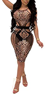 Rela Bota Women's Sexy Halter Sleeveless See Through Sequin Mesh Cut-Out Bodycon Party Dress