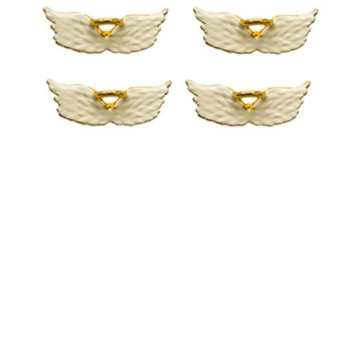 (White Angel Wings Lapel Pins with Gold Halo Set of 4)