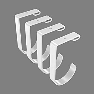 Fleximounts Add-On Storage Hook Accessory for Ceiling Rack, 4-Pack (Flat Hook x 4, White)