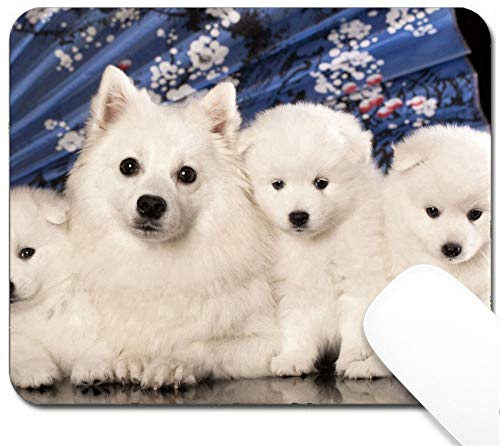 MSD Mouse Pad with Design - Non-Slip Gaming Mouse Pad - Dog and Puppies Japanese Spitz Image 23179807 Customized Tablemats Stain Resistance Col