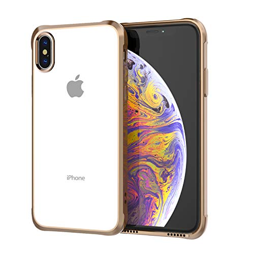 Soke iPhone Xs Max Case 2018, Slim Fit Cover Case [Unique Loudspeaker Hole][Drop Protection] with Clear Soft TPU Back and Electroplated Frame for iPhone Xs Max 6.5 Inch (2018 Released), Rose Gold