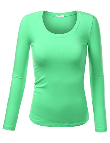 2c63a133c7f J.TOMSON Womens Plain Basic Cotton Spandex Long Sleeve T-Shirt MINT S - Buy  Online in Oman.