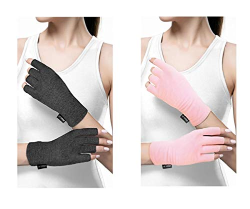 Copper Compression Arthritis Gloves for Women and Men. Best Copper Infused Fit Glove for Arthritis Hands, Arthritic Fingers, Carpal Tunnel, Computer Typing, Hand Support. Fingerless (1 Pair)
