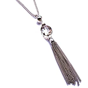 """Tassels Long Sweater Chain Necklace Pendant Transparent Crystal Bohemian Style for Women,32+2"""""""