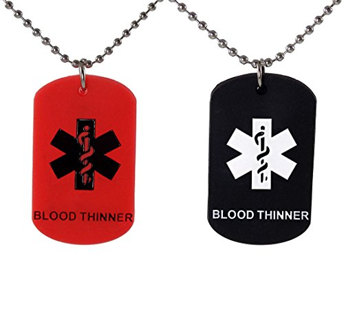 Max Petals 2 Pack - Blood THINNER Dog Tags Medical Alert Necklaces Red and Black Silicone