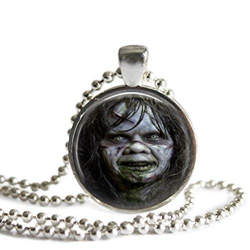Exorcist Linda Blair as Regan 1 Inch Silver Plated Pendant Necklace or Keychain -