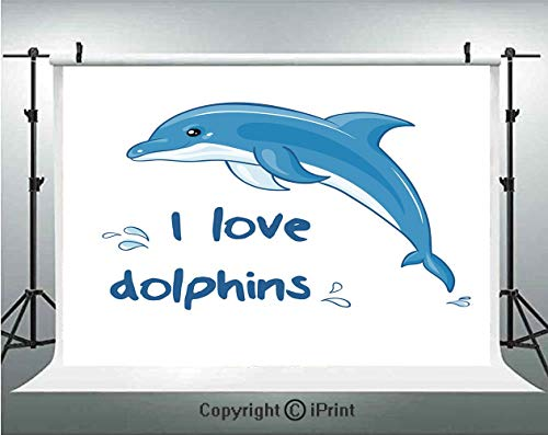 Dolphin Photography Backdrops Cartoon Style Ocean Animal with I Love Dolphins Quote and Water Splashes Image Decorative,Birthday Party Background Customized Microfiber Photo Studio Props,7x5ft,Blue Wh