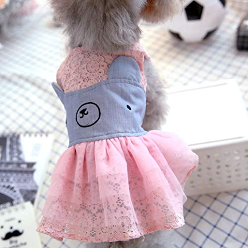 LVYING Fashion Pets Dresses for Dogs Small Yorkshire Poodle Winter Autumn Costumes Blue Pink Dots Party Cuddly Cat]()