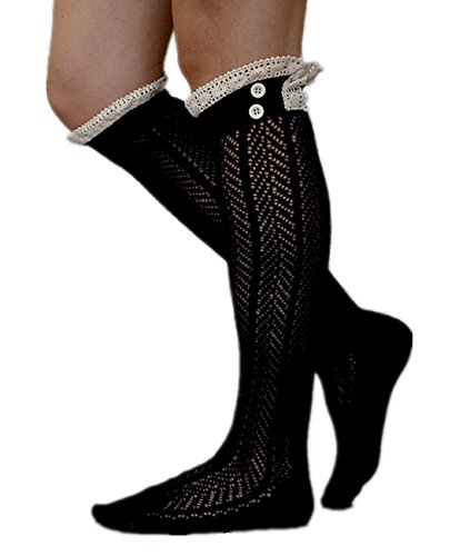 American Trend Womens Lacey Button Knee High Boot Socks Black MkYQ7H