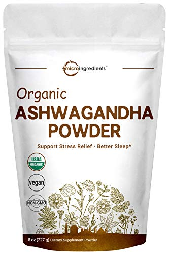Pure Organic Ashwagandha Root Powder, 8 Ounce, Adaptogenic Ayurvedic Herbal Supplements for Stress Relief and Mood Balancing, Non-GMO and Vegan Friendly.