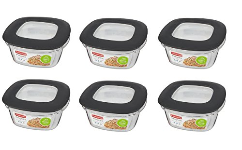 Rubbermaid Premier Food Storage Container, 5 Cup, Grey - Pack of 6