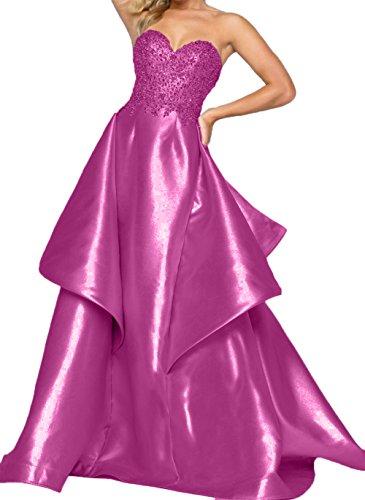 Pink Traegerlos Damen Lang Herzausschnitt Charmant Abendkleider Partykleider Fuchsia Abschlussballkleider FO8TR