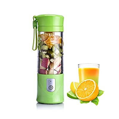 Portable Blender, ZSK Fruit Mixing Machine with Strainer and Travel Lid, 4400mAh Rechargeable Batteries-Green