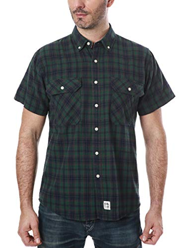 (Men's Short Sleeve Plaid Checkered Button Down Casual Shirts Green & Navy)