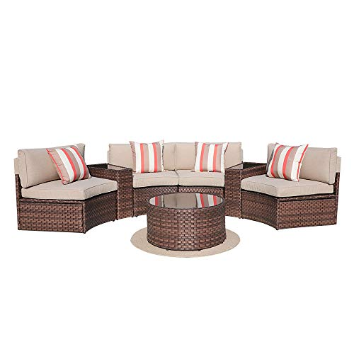 SUNSITT 7-Piece Outdoor Sectional Furniture Patio Half-Moon Set Brown Wicker Sofa Beige Cushions & Glass Coffee Table