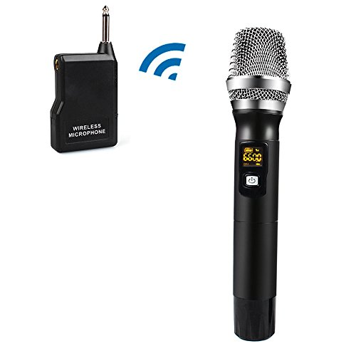 Wireless Microphone, XB-701 Handheld Vocal Metal Dynamic Cordless Mic with UHF Cardioid and Multi-Channel Frequency, Support Many People Singing, PA , Voice Amplifier and more(Black) (Pa People)
