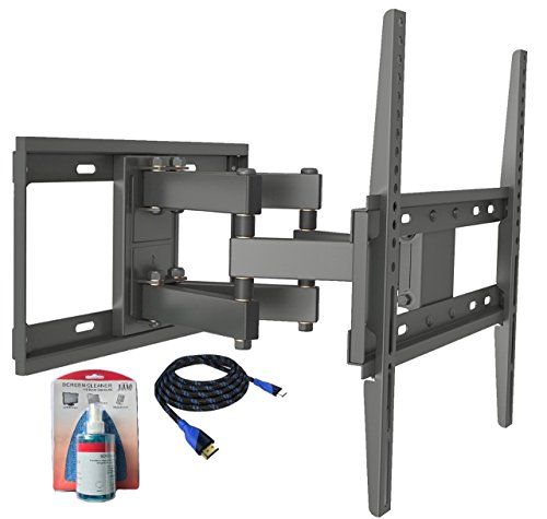 Husky Mounts Full Motion TV Bracket Fits Most 32-55 Inch LED LCD Heavy-Duty TV Wall Mount with Screen Cleaner Kit and HDMI ()