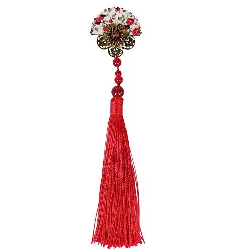 FANTAC CRAFTS Handmade Fan Shaped Hair Clip Long Tassel Kimono Hair Barrette Cosplay Antique Bronze Hair Accessories (Red) (Kimono Antique Japanese)