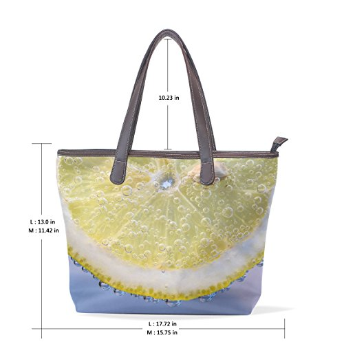 Handle Bubbles Patern Women Ladies Top Tote Bennigiry Handbag Large Bags Lemon Slices Shoulder qUwxwTICa