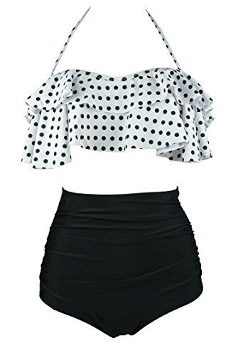 Cocoship White   Black Polka Dot Retro Boho Flounce Falbala High Waist Bikini Set Chic Swimsuit Bathing Suit L Fba