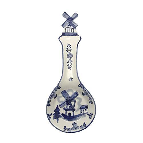 Ceramic Spoon Rests Delft Blue 3-D Windmill ()