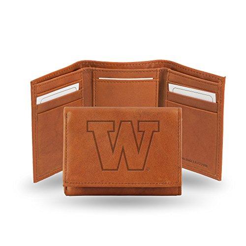 (Rico Industries NCAA Washington Huskies Embossed Leather Trifold Wallet, Tan)