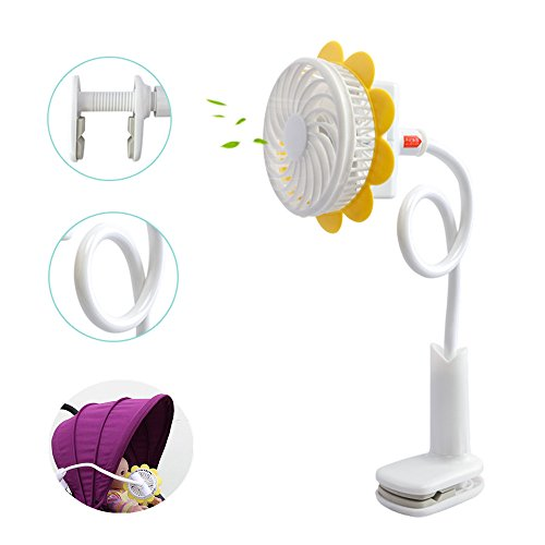 Price comparison product image Dreamsoule Portable Sunflower Shaped Clip Fan USB Rechargeable Cooling Fan Personal Handheld Fans with Flexible Neck Adjustable Speed for Baby Stroller, Home, Office, Gaming Room, Travel,Car Back Seat