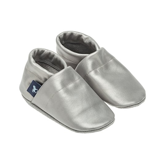 pantau Leder Krabbelschuhe Lederpuschen Babyschuhe Lauflernschuhe in Unifarben, 100% Leder Grau