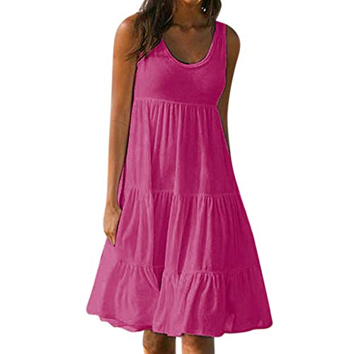 iHPH7 Dress Summer Casual Swing T-Shirt Dresses Beach Cover up with Pockets Holiday Summer Solid Sleeveless Party Beach Dress Women (S,Hot Pink)