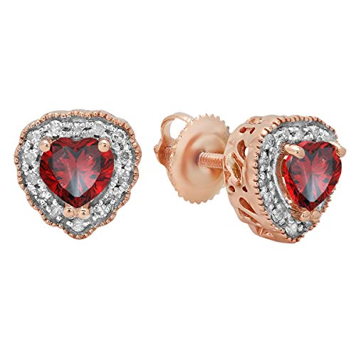 Dazzlingrock Collection 14K 5 MM Each Heart Shaped Garnet & Round White Diamond Ladies Halo Stud Earrings, Rose Gold