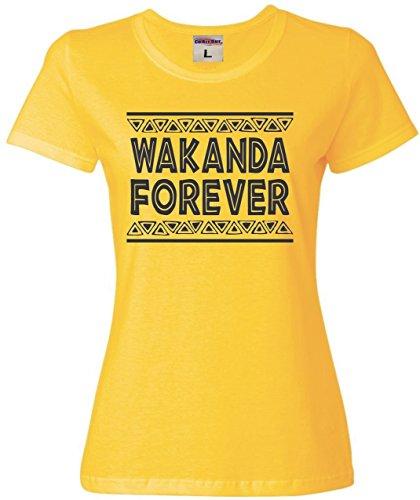 X-Large Yellow Womens Wakanda Forever T-Shirt - Forever T-shirt Dark Womens