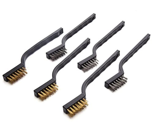 Geekbox® Mini Ensemble de brosse métallique pour nettoyage de soudure Slag et rouille, Lot de 6, Acier inoxydable et laiton Box World