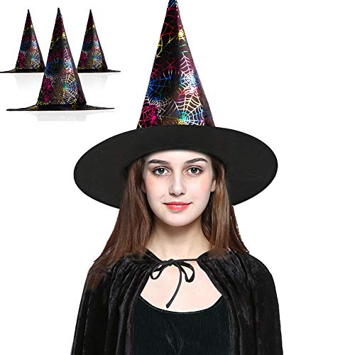 BESAZW Halloween Witch Hats Costume with Spider Fancy Dress up Costume Accessories for Halloween 3 Pack