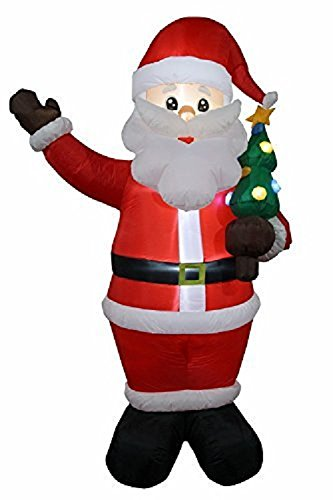 VIDAMORE 8FT Inflatable Self-Inflating Santa with Christmas Tree Indoor Outdoor Christmas Decorations