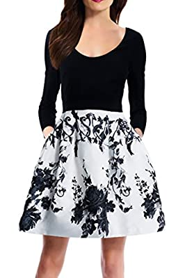 Zalalus Women's Elegant Floral Patchwork Pockets 3/4 Sleeve Backless Casual Party Dress