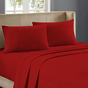 Nile Bedding Extra Sumptuous Egyptian cotton 15 Inches Deep Pocket Sheet Set 350 TC Solid (Full XL , Blood Red)