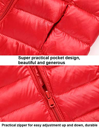 Hooded Warm Zipper Red Boys Winter Girls Down Lightweight Outerwear Jacket Coats Unisex BESBOMIG Jacket Kids Thin Windproof aYw565