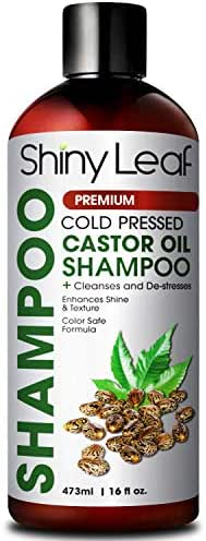 Shiny Leaf Cold Pressed Castor Oil Shampoo – Premium Hair Growth Shampoo with Cold Pressed Castor Oil, For All Hair Types, Moisturizes Hair, Keeps Hair Silky Soft and Smooth, 16 oz. (473ml)