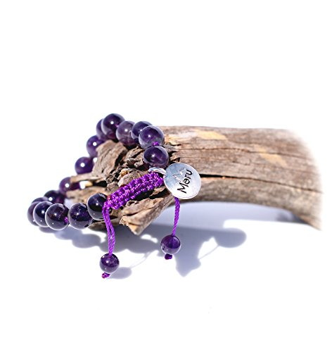 Premium Amethyst Purple Mala Beads Bracelet for Women - February Birthstone - 8mm Mala Bead Bracelet - Beaded Bracelet - Gemstone Bracelet - Adjustable