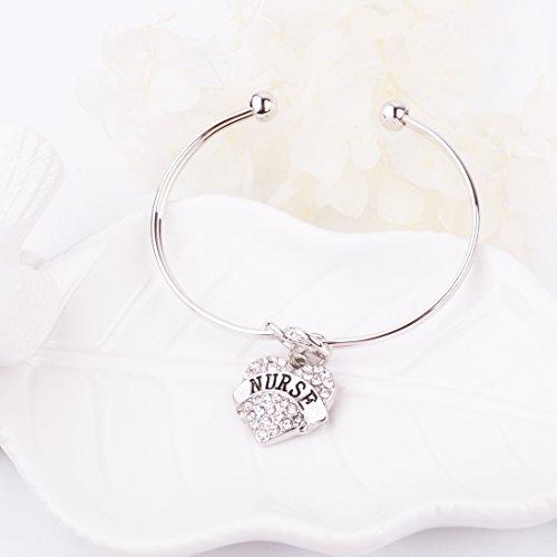 REEBOOO Nurse charm Nurse Gift Love Knot Cuff Bangle Bracelet Inspirational Jewelry Gift for Her (Silver-NURSE) by REEBOOO (Image #2)