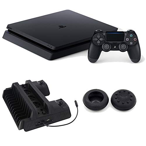 (Sony Playstation 4 Slim Gaming Console 1 TB Core-Jet Black with Cooling Dock Bundle)