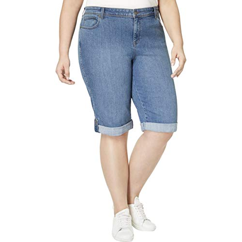 (Style & Co. Womens Plus Skimmer Mid Rise Denim Shorts Blue 20W)
