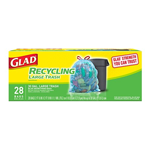 Glad Large Drawstring Recycling Bags - 30 Gallon Blue Trash Bag - 28 Count (Recycle Plastic Bags)