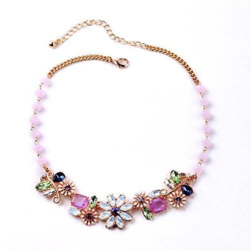 Classic Fashion Women Jewelry Vintage Crystal Necklace Elegant Flower Pendant
