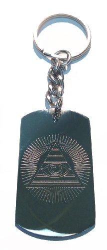 Pyramid Dollar Bill - All Seeing Eye Pyramid Sun Dollar Bill - Metal Ring Key Chain Keychain