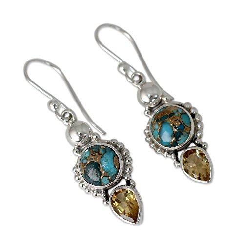 NOVICA Citrine Reconstituted Turquoise .925 Sterling Silver Dangle Earrings Summer Sunset