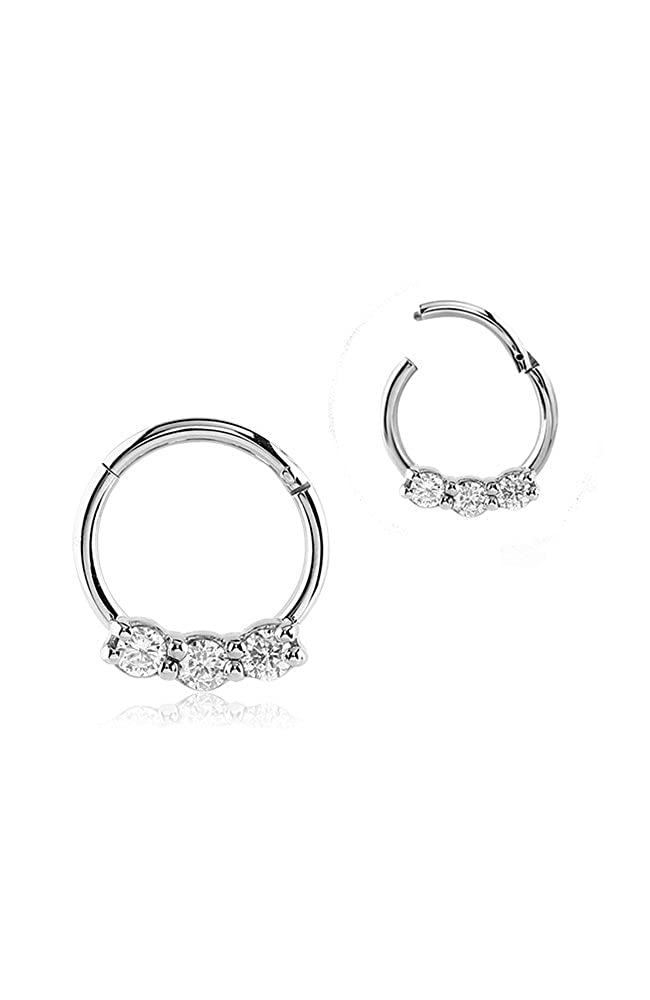 316L Surgical Steel Septum Clicker Helix Nose Ring Hoop Triple Clear CZ Nose Ring 16G