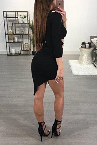Black Dress Party Out 4 Deep CNJFJ V Oblique Hem Sexy Womens Neck Cut Dress 3 Mini Club Evening Halter Sleeve qwRHfARU