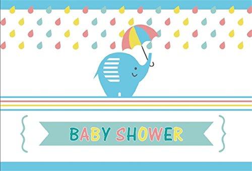 CSFOTO 8x6ft Background for Sweet Baby Shower Photography Backdrop Cartoon Cute Elephant Pregnancy Announcement Gender Reveal Party Celebrate Newborn Infant Photo Studio Props Vinyl Wallpaper (Digital Album 8' Photo)